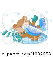 Clipart Teddy Bear Falling While Ice Skating Royalty Free Vector Illustration by Pushkin