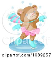 Clipart Female Teddy Bear Ice Skating Royalty Free Vector Illustration by Pushkin
