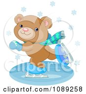 Clipart Teddy Bear Ice Skating Royalty Free Vector Illustration by Pushkin