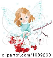 Clipart Winter Fairy Girl Sitting On A Branch With Snow And Berries Royalty Free Vector Illustration