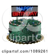 Clipart 3d Computer Circuit Board Birthday Cake With A Neon Sign Royalty Free CGI Illustration by stockillustrations