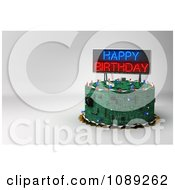 Clipart 3d Circuit Board Birthday Cake With Copyspace And A Neon Sign Royalty Free CGI Illustration