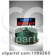 Clipart 3d Circuit Board Birthday Cake With A Neon Sign Royalty Free CGI Illustration