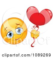 Clipart Romantic Yellow Emoticon Smiley With A Heart Balloon Royalty Free Vector Illustration by yayayoyo