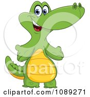 Clipart Cute Baby Crocodile Standing Royalty Free Vector Illustration