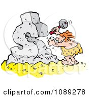 Clipart Creative Caveman Chiseling A Dollar Symbol Royalty Free Vector Illustration