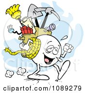Clipart Tired Moodie Character With A Bag Of Gear Royalty Free Vector Illustration