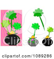 Clipart Pots Of Gold With Clovers Royalty Free Vector Illustration by bpearth
