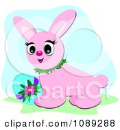 Clipart Turqouise Easter Egg And Pink Bunny Royalty Free Vector Illustration by bpearth