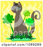 Clipart St Patricks Day Cat Sitting In A Clover Patch Over Yellow Zig Zags Royalty Free Vector Illustration by bpearth