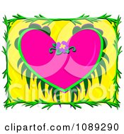 Pink Tropical Heart With A Frame On Yellow