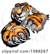 Clipart Tiger Mascot With Claws Royalty Free Vector Illustration
