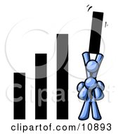A Blue Man On Another Mans Shoulders Holding Up A Bar In A Graph Clipart Illustration