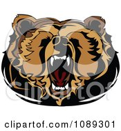 Clipart Roaring Bear Mascot Head Royalty Free Vector Illustration