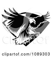 Clipart Black And White Bald Eagle Flying Badge Royalty Free Vector Illustration by Chromaco