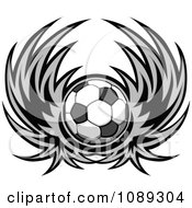 Clipart Gray Winged Soccer Ball Royalty Free Vector Illustration by Chromaco