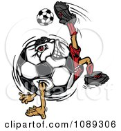 Clipart Soccer Ball Mascot Kicking Royalty Free Vector Illustration