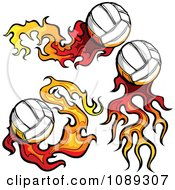Clipart Three Flaming Volleyballs Royalty Free Vector Illustration by Chromaco