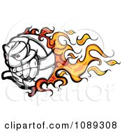 Clipart Flaming Volleyball Ball Mascot Royalty Free Vector Illustration