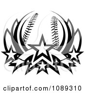 Clipart Black And White Baseball Lotus With Stars Royalty Free Vector Illustration