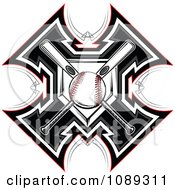 Clipart Baseball Bats And Plate Crossed Over A Cross Royalty Free Vector Illustration