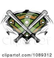 Clipart Baseball Bats Crossed Over A Field Royalty Free Vector Illustration