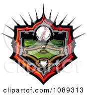 Clipart Baseball Over A Field Royalty Free Vector Illustration