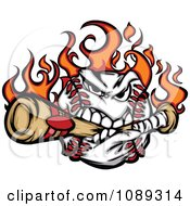 Clipart Flaming Baseball Mascot Biting A Bat Royalty Free Vector Illustration