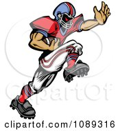 Clipart Football Player Mascot Running With The Ball Royalty Free Vector Illustration by Chromaco