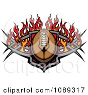 Clipart American Football With Tribal Designs And Flames Royalty Free Vector Illustration by Chromaco
