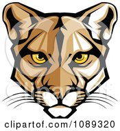 Clipart Cougar Mascot Face With Yellow Eyes Royalty Free Vector Illustration
