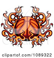 Clipart Basketball In Flames Royalty Free Vector Illustration by Chromaco