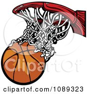 Clipart Basketball Falling Through A Net Royalty Free Vector Illustration