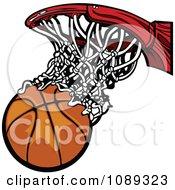Clipart Basketball Falling Through A Net Royalty Free Vector Illustration