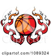 Clipart Basketball With Flames Royalty Free Vector Illustration by Chromaco