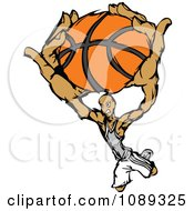 Basketball Player Athlete Slam Dunking A Ball