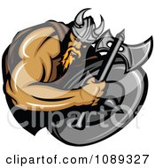Clipart Viking Warrior Mascot Holding An Axe Over A Shield Royalty Free Vector Illustration