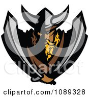 Clipart Tough Viking Warrior Mascot Holding Two Swords Royalty Free Vector Illustration
