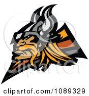 Clipart Profiled Viking Warrior Mascot Royalty Free Vector Illustration