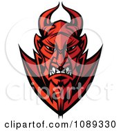 Clipart Mad Devil Mascot Face Royalty Free Vector Illustration by Chromaco