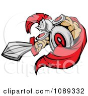 Clipart Stabbing Spartan Mascot With A Sword Royalty Free Vector Illustration