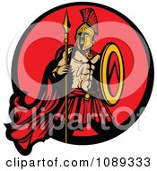 Clipart Spartan Mascot With A Spear And Red Circle Royalty Free Vector Illustration