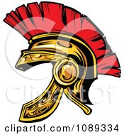 Clipart Gold Spartan Helmet Royalty Free Vector Illustration by Chromaco