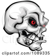 Clipart Demonic Skull Clenching Its Jaw Royalty Free Vector Illustration by Chromaco
