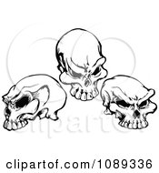 Clipart Three Black And White Skulls Royalty Free Vector Illustration by Chromaco