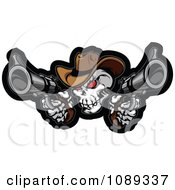 Clipart Demonic Cowboy Skull Shooting Pistols Royalty Free Vector Illustration