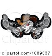 Clipart Demonic Cowboy Skull Shooting Pistols Royalty Free Vector Illustration