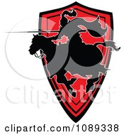 Clipart Silhouetted Knight Pointing His Lance Over A Red Shield Royalty Free Vector Illustration