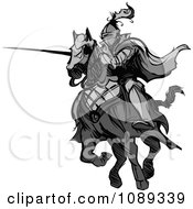 Clipart Grayscale Knight Pointing His Lance Royalty Free Vector Illustration