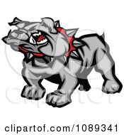 Clipart Gray Bulldog Mascot Royalty Free Vector Illustration